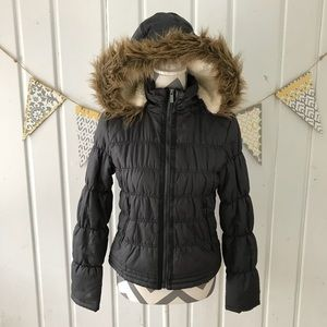 Maralyn & Me Faux Fur Trimmed Gray Puffer Coat